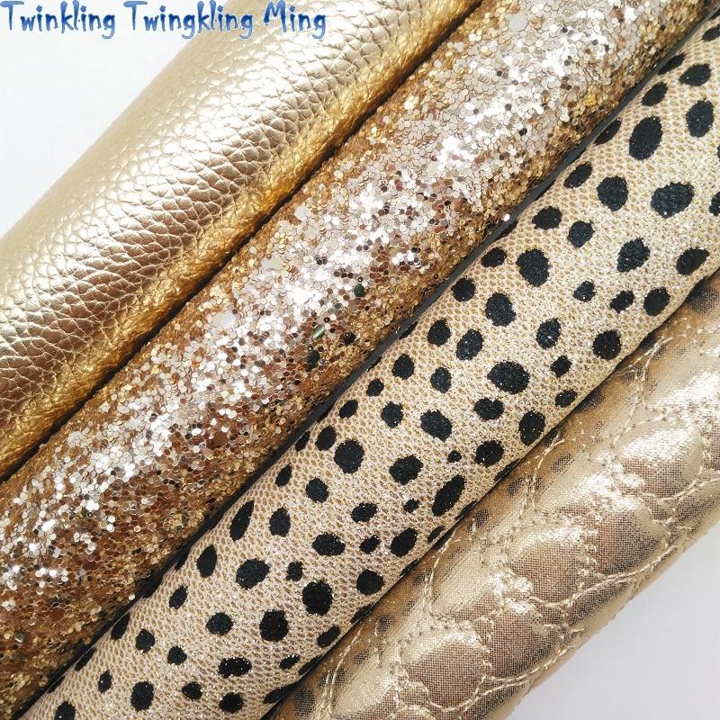 Кожа с золотыми блестками, тисненые сердца, синтетическая кожа, искусственная ткань, лист для банта 21x29 см, мерцание Ming KM371