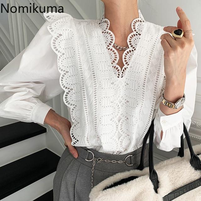 Nomikuma Lace Ruffle Patchwork Women Blouse Puff Long Sleeve V-neck Elegant Blusas Top 2021 Spring New Pullover Shirt 6E071 1