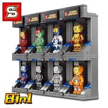 8pcs Super Heroes Figures Iron Man Gnaku Model Building Blocks Figure Toys Gift B755