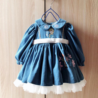 Girl Dress Baby Winter autumn Dress Christmas Dresses for 1 6 year kids Girls First Birthday Girl Party Blue Princess dress