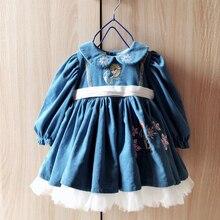 Mädchen Kleid Baby Winter herbst Kleid Weihnachten Kleider für 1 6 jahr kinder Mädchen Ersten Geburtstag Mädchen Party Blau prinzessin kleid