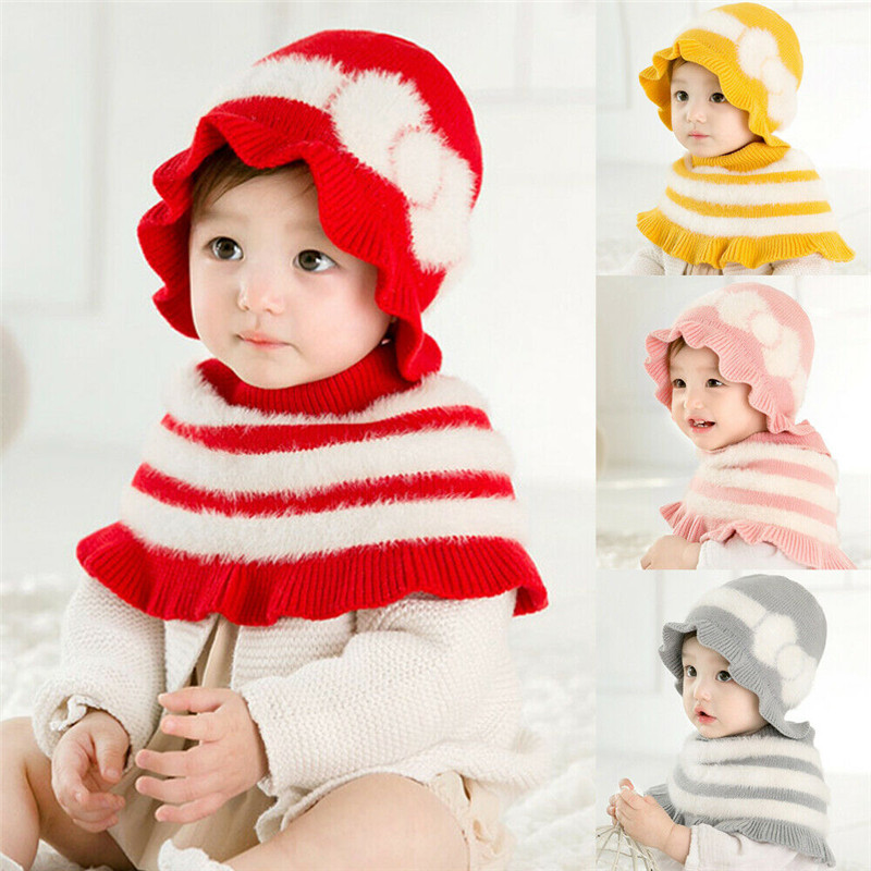 Toddler Kids Baby Girls Princess Scarf Caps Hat Winter Warm Knitted Scarf Shawl Flowers Patten Patchwork Scarf Hat Glove Sets