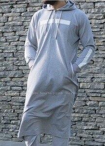 Image 4 - Men Jubba Thobe Arabic Islamic Clothing Muslim Dress Saudi Arabia Long Robe Abaya Dubai Loose Blouse Kaftan Sweater Hoodies Tops