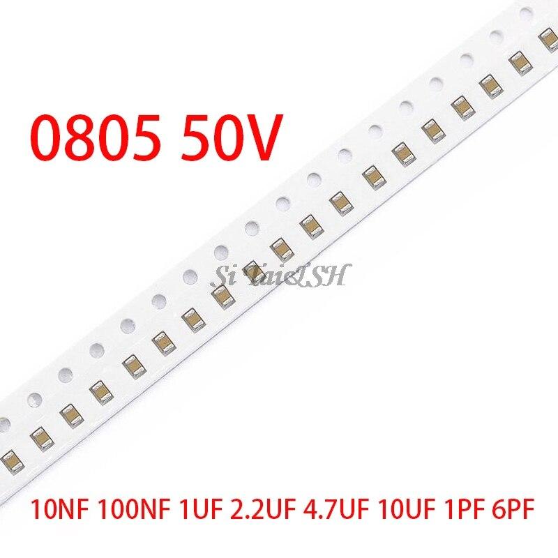 100pcs 0805 50V SMD Thick Film Chip Multilayer Ceramic Capacitor 1pF-47uF 10NF 100NF 1UF 2.2UF 4.7UF 10UF 1PF 6PF