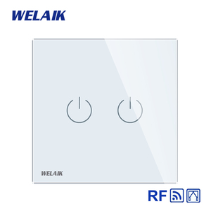 Image 2 - WELAIK EU Curtains Switch RF 433MHZ Glass Panel Remote Control Curtains Touch Switch Wall Blinds Switch  AC250V A1923CLCWR01