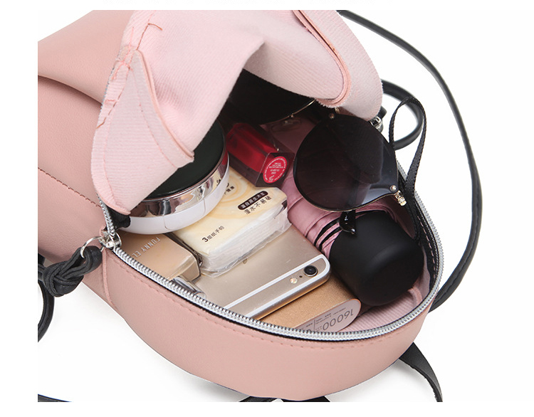Casual Small Waterproof Backpack Women Solid Color Pu Leather School Bag Simple Mini Zipper Bookbags And Girls Travel Backpacks (7)