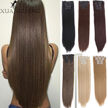 XUANGUANG Natural Hairpieces Straight Synthetic Clip In Hair Extentions