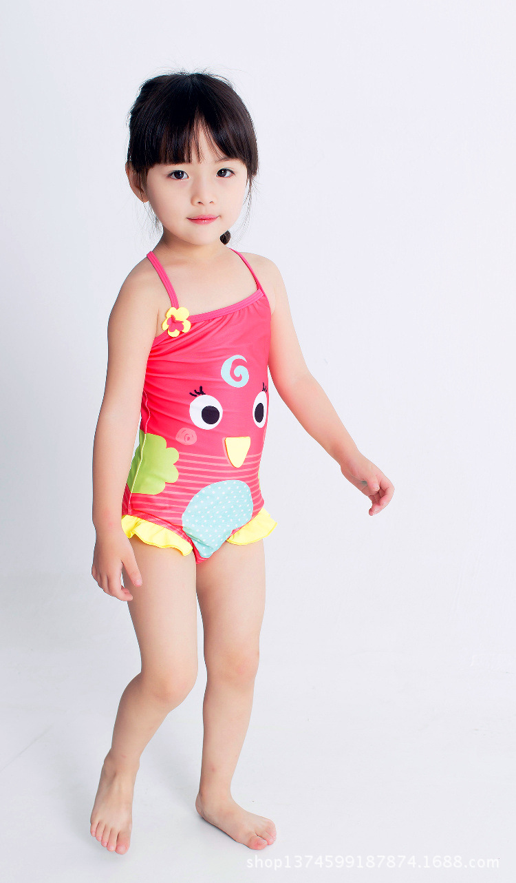 New Style KID'S Swimwear GIRL'S One-piece Swimming Suit Small CHILDREN'S Young Children Cute Cartoon Camisole One-piece Sun-resi