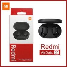 Original xiaomi redmi airdots 2 airdots s verdadeira ligação automática estéreo sem fio fone de ouvido redução ruído controle da torneira