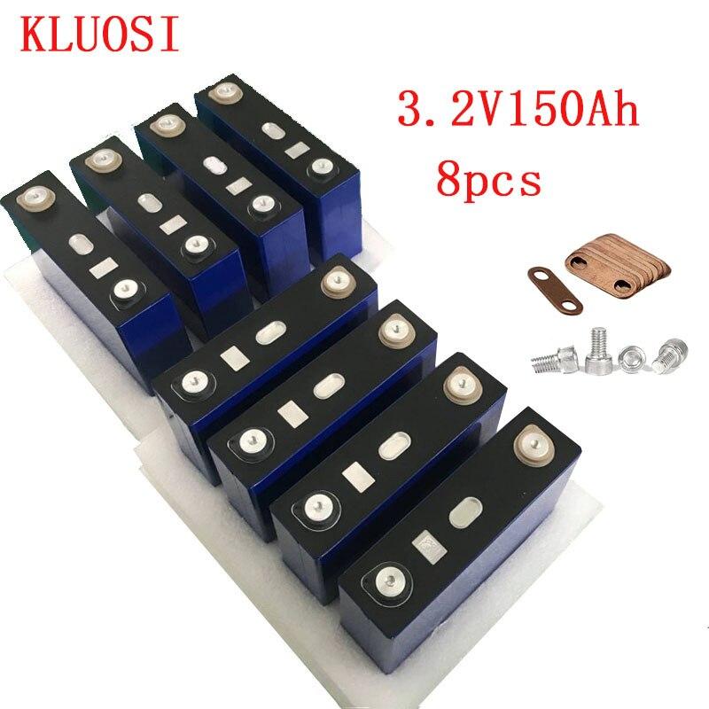 Lifepo4 bateria recarregável 8 pces 3.2 v 150ah pilha de fosfato de ferro de lítio células solares 24v150ah 12v300ah não 120ah ue eua livre de impostos