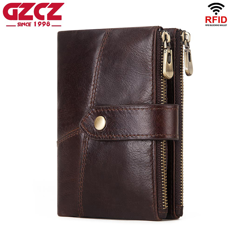 GZCZ RFID Wallet Coin-Purse Money-Bag Crazy-Horse Mini Genuine Short Men Male Hombre