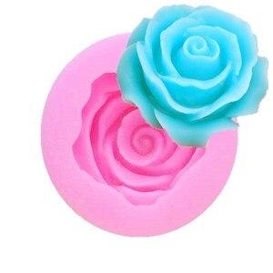Image 1 - 3D ローズ花の形のシリコーン石鹸型枠チョコレートケーキ型手作り diy 装飾石鹸シリコーン型