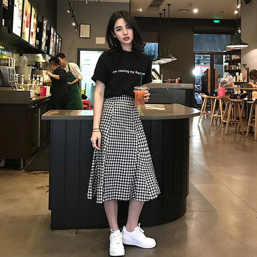 Summer New Casual Black White Plaid Classic All Match College Wind Preppy Style Elastic Higt Waist Female Women Skirts