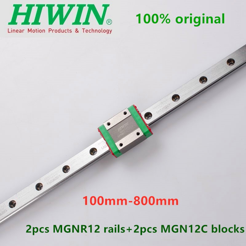 2pcs Original Hiwin linear guide MGN12 100 <font><b>150</b></font> <font><b>200</b></font> 250 300 330 350 400 450 500 550 600 mm rail +2pcs MGN12C block 3D printer cnc image