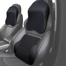 Cojín de asiento para la cintura con soporte Lumbar, masajeador de espuma viscoelástica para reposacabezas de cuello, almohada para silla de coche, hogar y oficina, alivia el dolor
