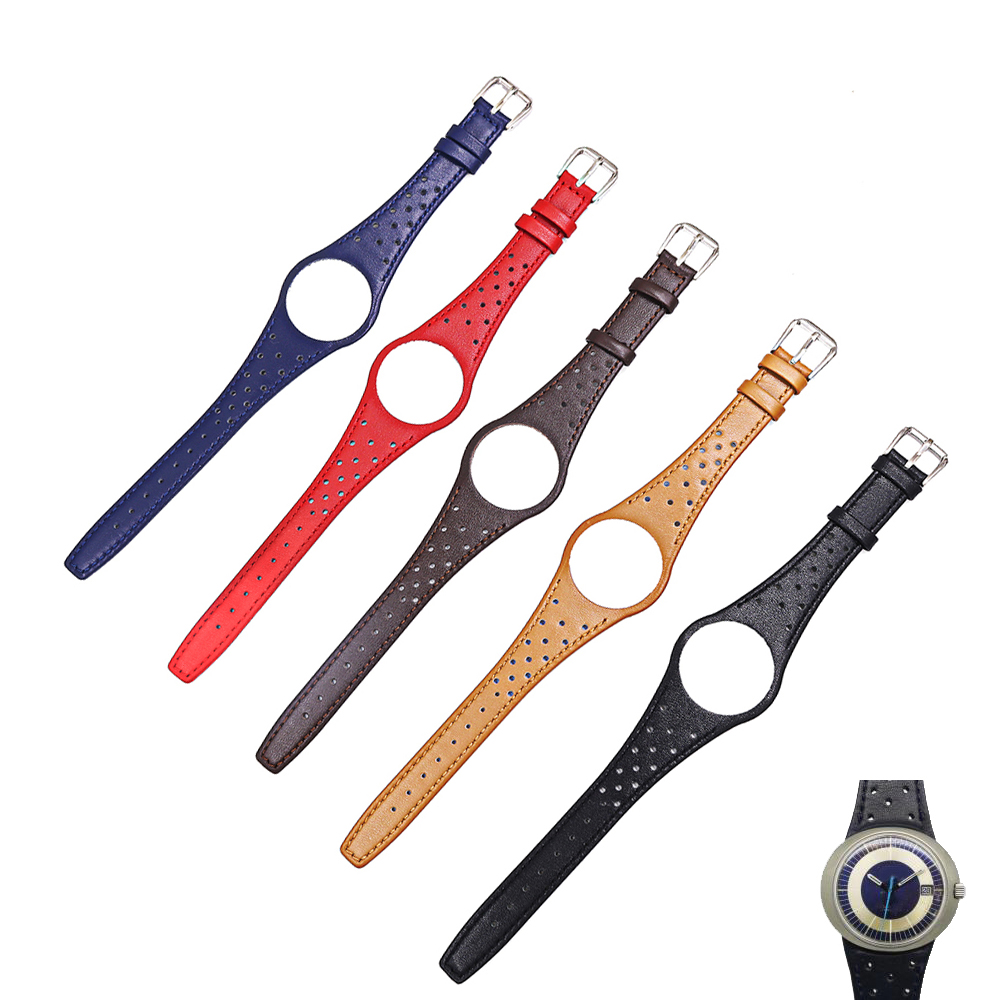 Rolamy Red Blue Brown Black Khaki Real Calf Leather Watch Band with silver steel Buckle For Omega Dynamic|Watchbands| - AliExpress