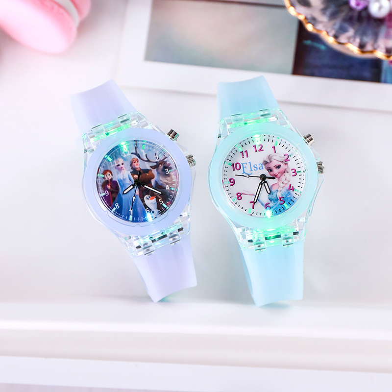 Disney congelé 2 Sophia princesse dessin animé enfants jouets lueur montre cristal cuir montre-bracelet pour filles enfants cadeau de noël