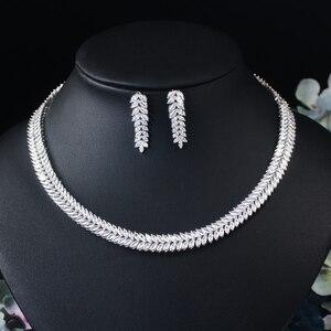 Image 4 - CWWZircons Marquise Cut Bunte Zirkonia Steine Braut Runde Choker Halskette Ohrring Set für Frauen Hochzeit Schmuck T074
