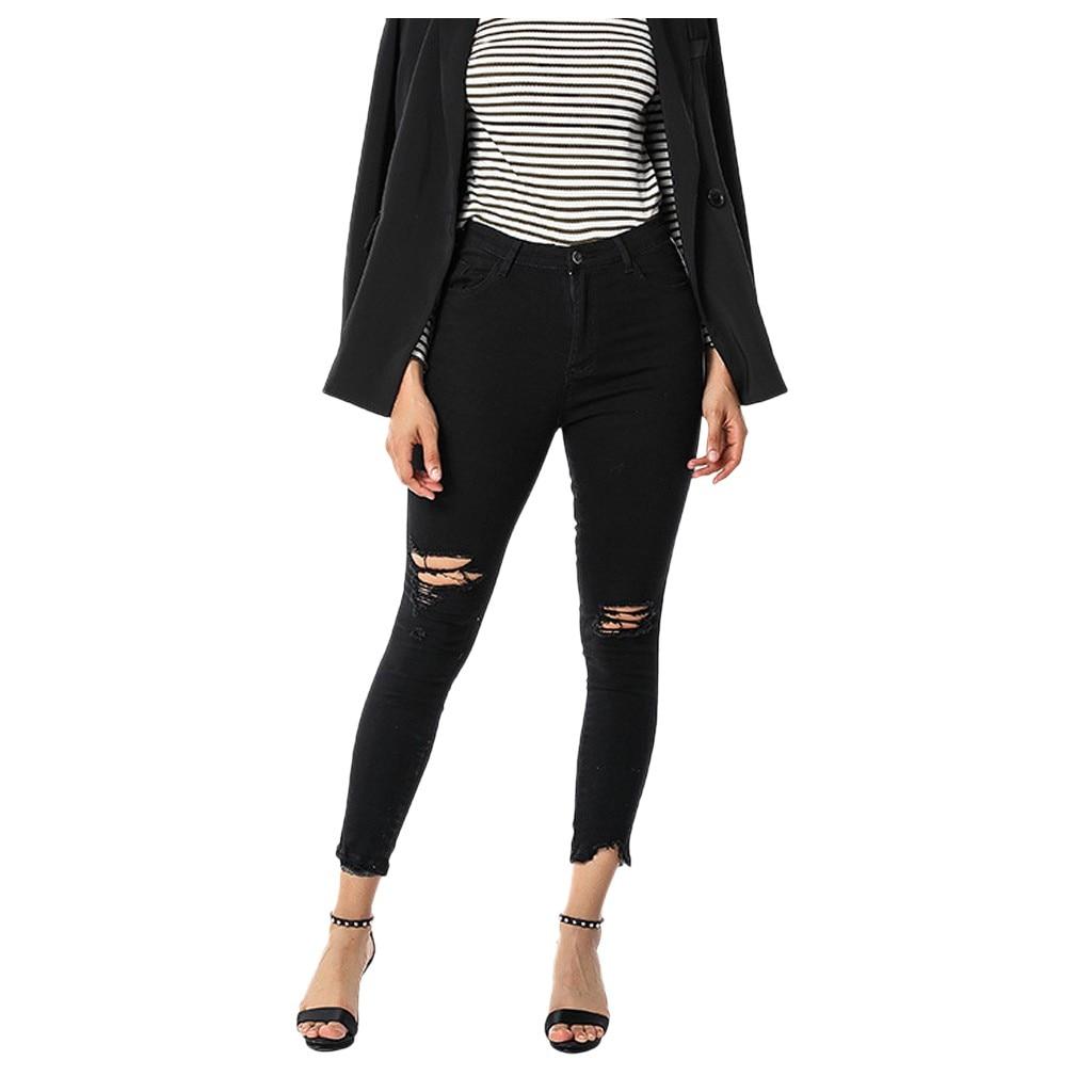 Plus Size Summer Hole Ripped Jeans Women Jeggings Cool Denim High Waist Skinny Jeans Pants Pencil Trousers Black d#
