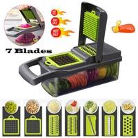새로운 핫 7 in 1 다기능 야채 커터 식품 슬라이서 다이 서 더 좋은 야채 과일 필러 헬기 커터 당근 치즈 강판