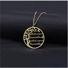 Custom Name Necklace Tree Golden Family Tree Women Letter Necklace Stainless Steel Jewelry Personalized Couple Gifts(China)