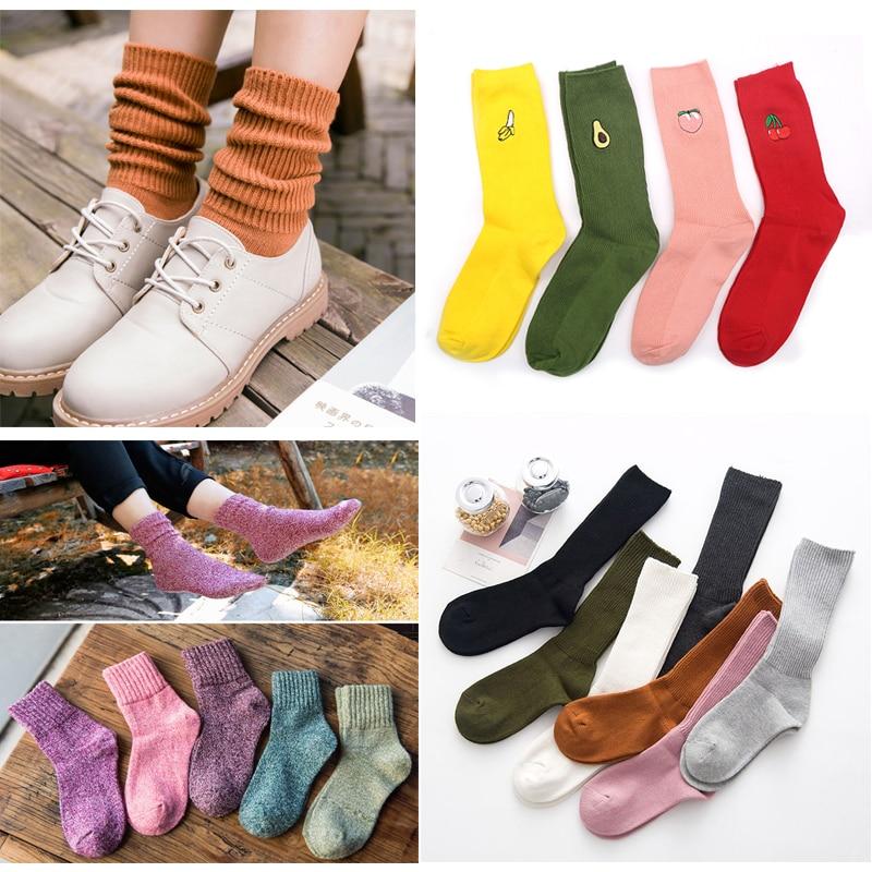 Women Socks Cotton Fashion All Seasons Striped Embroidery Series Women's Short Socks Harajuku Retro Crew Loose Socks Meias Sox
