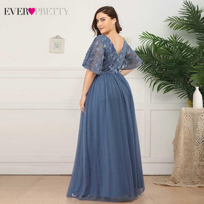 Платья для выпускного вечера, большие размеры, дымчато-голубое, Ever Pretty, EP00722, ТРАПЕЦИЕВИДНОЕ, с глубоким v-образным вырезом, с аппликацией, короткий рукав, тюль, элегантные платья для вечеринки, 2020