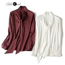 Silviye Ribbon silk satin shirt women's long sleeve small shirt fashion party top spring blusas mujer de moda 2020