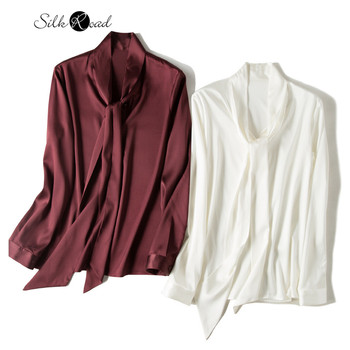 цена Silviye Ribbon silk satin shirt women's long sleeve small shirt fashion party top spring blusas mujer de moda 2020 онлайн в 2017 году