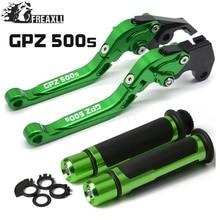 For Kawasaki GPZ500S/EX500R NINJA 1990-2009 2004 2005 Motorcycle Adjustable Folding Brake Clutch Levers Handlebar Hand Grips Set