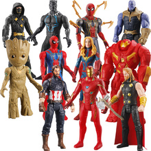 30CM Marvel Superhero Action Figure PVC Avengers Audible Model Toy Luminous Venom Spider-Man Iron Man Boy Gift