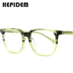 Image 2 - アセテート眼鏡フレーム男性正方形処方メガネ新人男性の男性近視光学フレーム眼鏡眼鏡9114