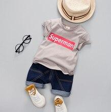 цена на Children Clothing Boys Summer Fashion letters T-Shirt Denim Shorts Sport Suit Baby Kids Short Sleeve T Shirt Jeans Clothes Sets