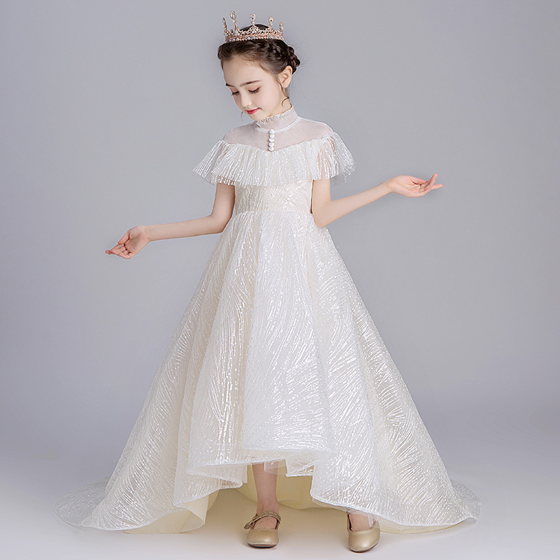 CHILDREN'S Dress Flower Boys/Flower Girls Puffy Yarn Piano Costume Girls Princess Skirt Host Late Formal Dress Tailing Catwalks