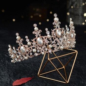 Baroque Luxury Silver Plated Crystal Pearls Bridal Tiaras Crown Rhinestone Pageant Diadem CZ Headbands Wedding Hair Accessories