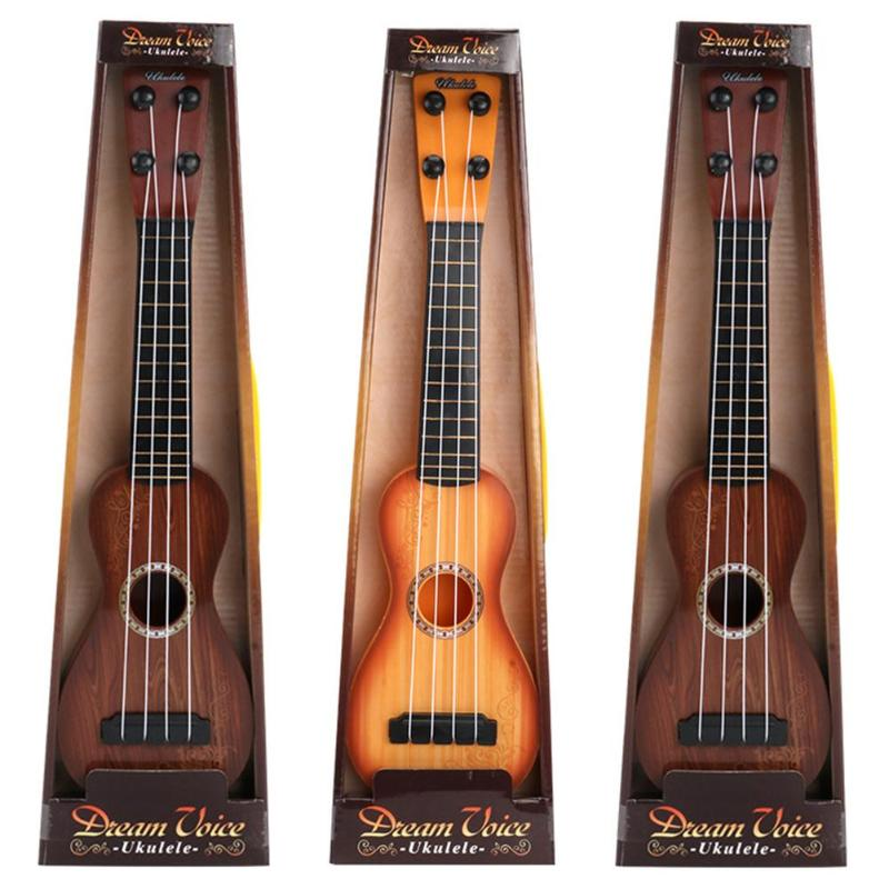 Classical Children Simulation Wood Grain Ukelele Guitar Toys Musical Instrument Education Toy For Kid Gift