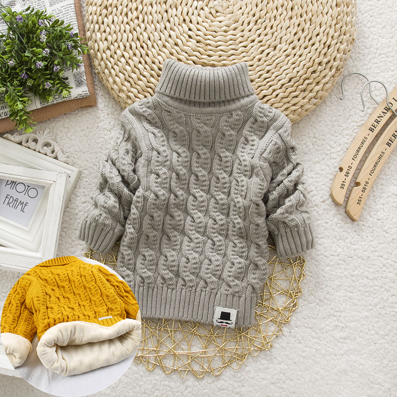 PHILOLOGY Plush inside pure color winter boy girl kid thick Knitted turtleneck shirts solid high collar pullover fluff sweater 4