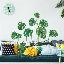 Creative Green Plant Monstera Wall Sticker Mobile Simulation Affixed TV Background Decor Window Decoration Stickers
