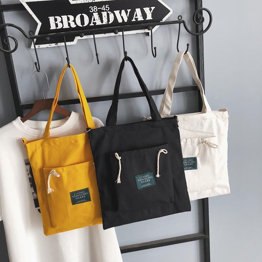 Women Simple Shopping Bag Female Canvas Cloth Reusable Foldable Eco Grocery Totes Shoulder Bag Environmental Storage Handbags #F