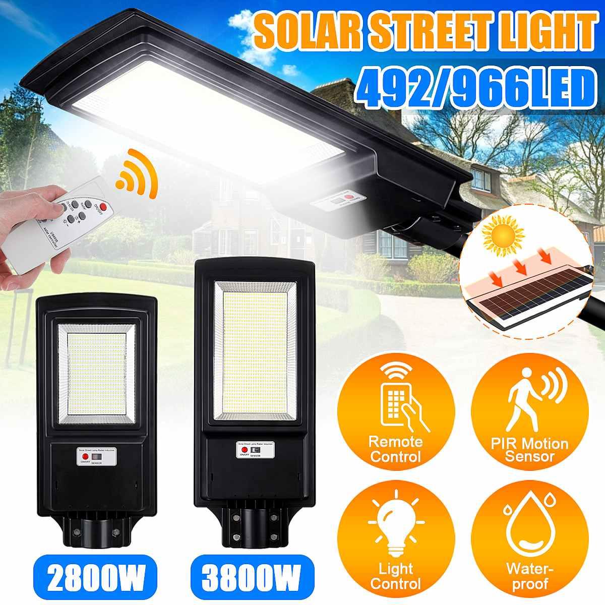 2800W 3800W LED Solar Street Light with Remote Control 8500K Radar Sensor Outdoor Garden Wall Lamp Industrial Security Lighting