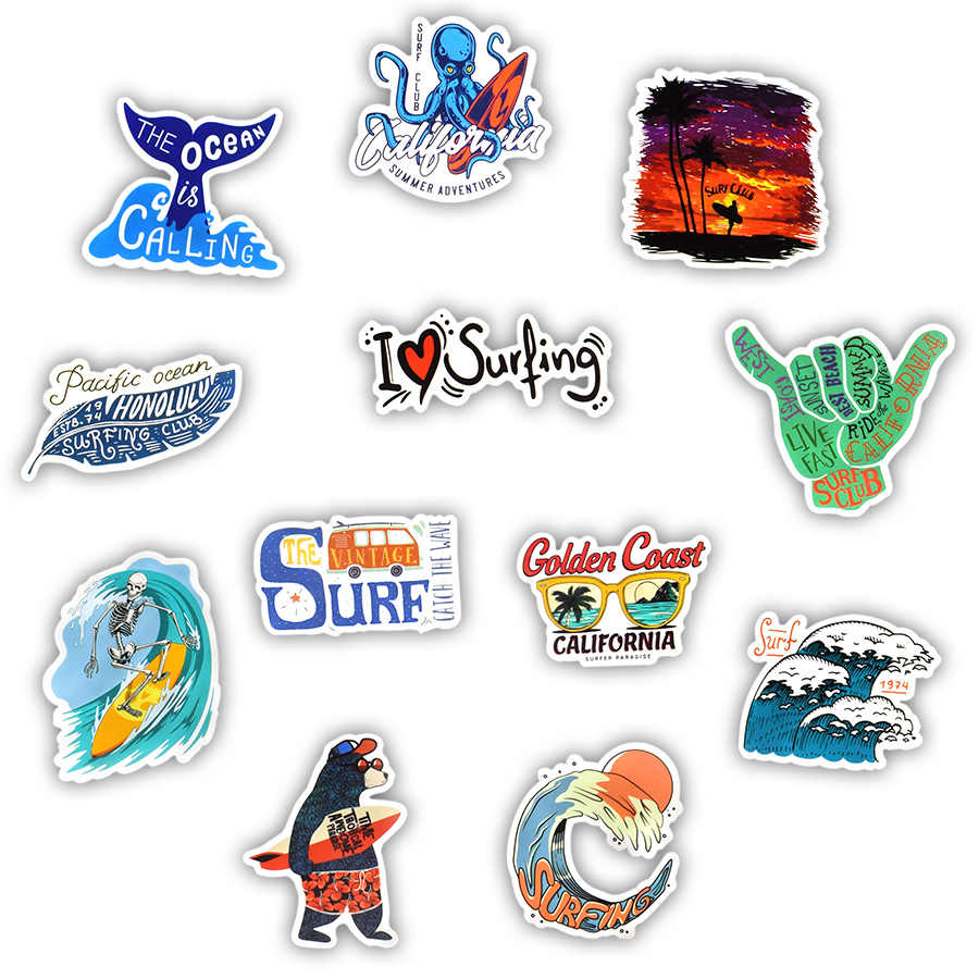 50 PCS Outdoor Surf Adesivi Tropical Beach Viaggi di Sport di Estate Vsco Ragazza Sticker per FAI DA TE Tavola Da Surf Skateboard Laptop Decalcomanie Auto
