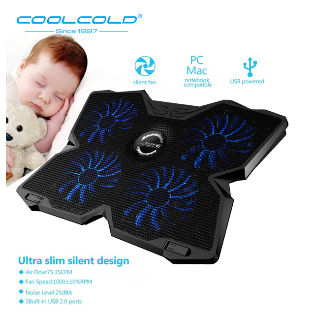 Laptop Cooler Laptop Cooling Pad Notebook Gaming Cooler Stand with Four Fan and 2 USB Ports for 14-17inch Laptop 1