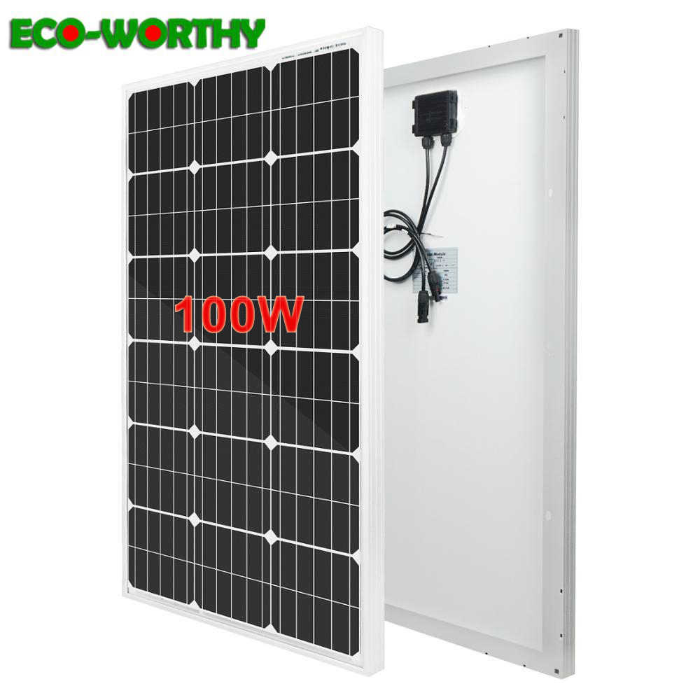 100W 18V Mono Solar Panel Battery Charging & 20A Charge Controller Home Boat Caravan Camping