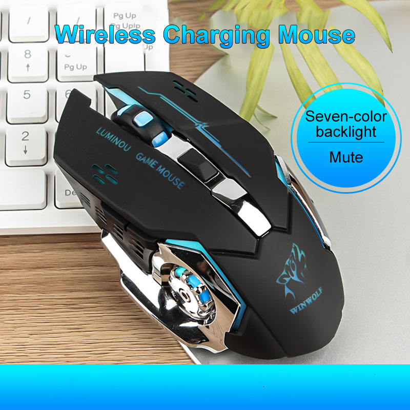 Wireless 2400DPI LED Rechargeable Silent Mouse Mice /& USB Receiver For PC Laptop