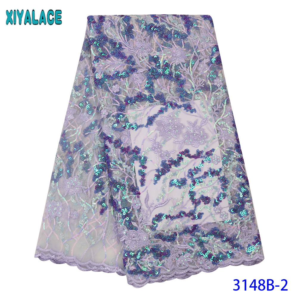 Best Selling Sequence Lace Fabric High Quality French Tulle Lace Nigeria Embroidery Laces With Colorful Sequins KS3148B