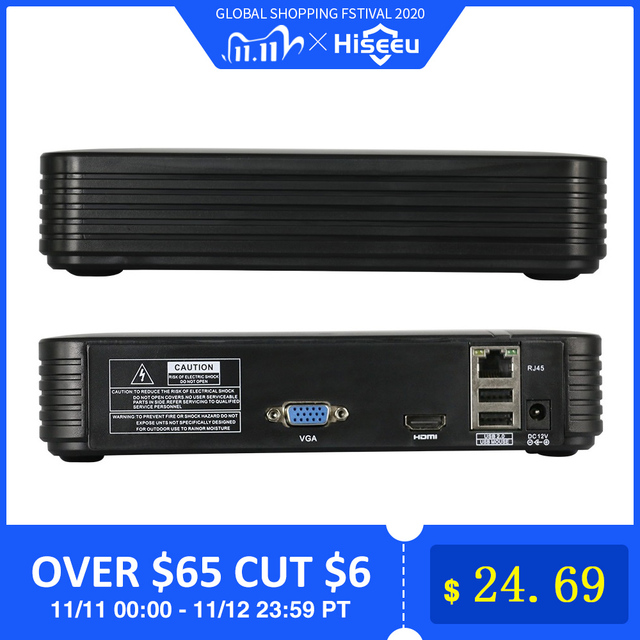 Hiseeu H.265 cctv nvrセキュリティビデオ監視レコーダー 16CH 5MP 2MP 8CH 4MP 5MP出力モーション検出onvif xmeye