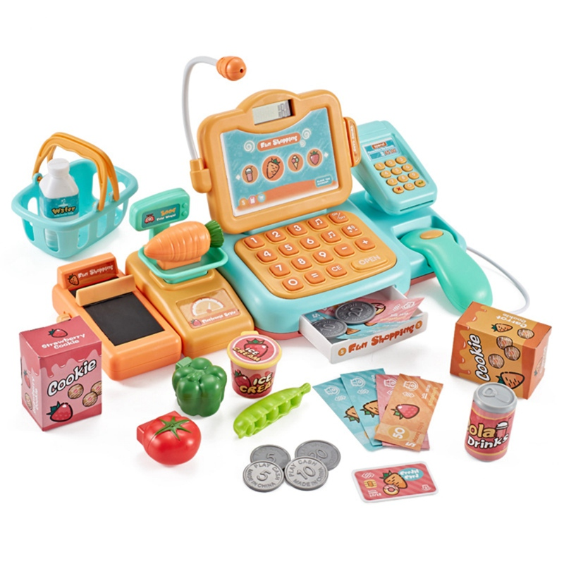 Kids Pretend Play Goods and Shopping <font><b>Toys</b></font> Simulation Supermarket Electronic <font><b>Cashier</b></font> Cash Register Children's Role Play Game <font><b>Toys</b></font> image