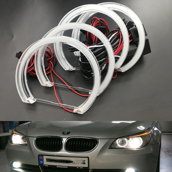 цена на 4pcs Led Angel Eyes Drl Halo Lights Dtm Style For Bmw 3 E46 M3 E39 E91 E36 E38 Halogen Xenon Projector Headlight Accessories