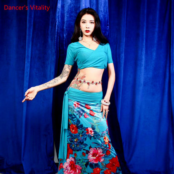 Belly Dance  Suit Female Adult High-end Temperament Top Long Skirt Performance Clothes Set - discount item  25% OFF Stage & Dance Wear