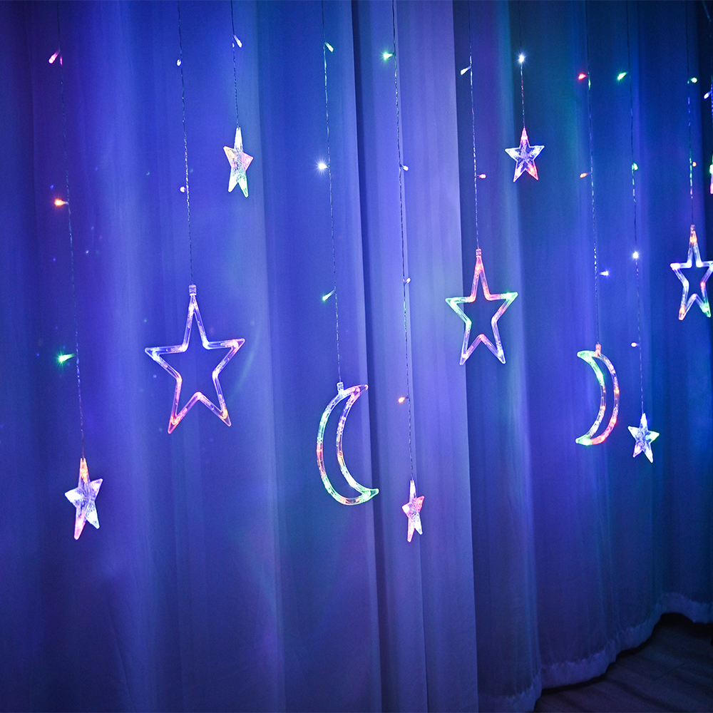 lowest price LED Deer Star Moon Curtain Light 220V 110V Christmas Garland String Fairy Lights Outdoor For Home Wedding Party New Year Decor
